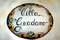 targa con scritta Decoro Barocco Blu